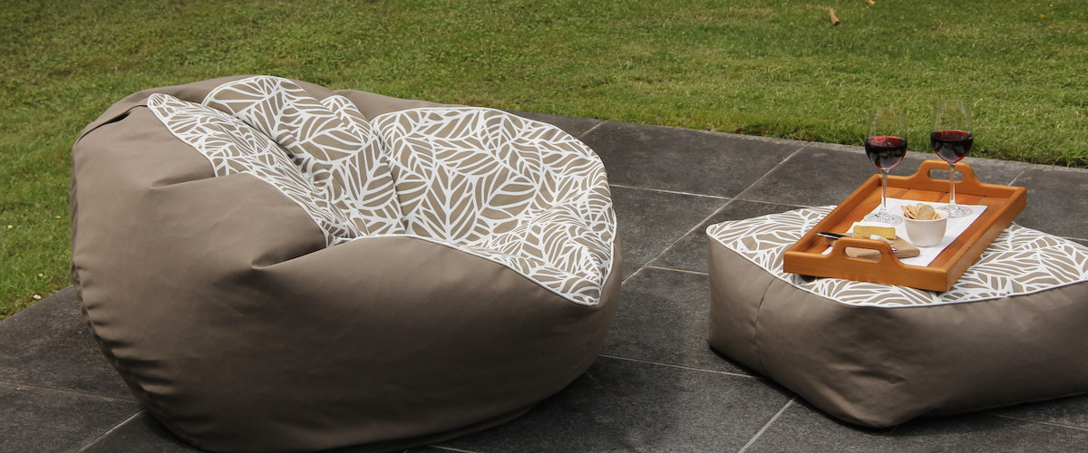 Brooklyn Taupe Bean Bag And Ottoman